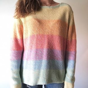 Rainbow Pastel Knit Sweater XL